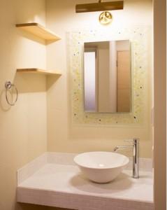 自然素材住宅の洗面台
