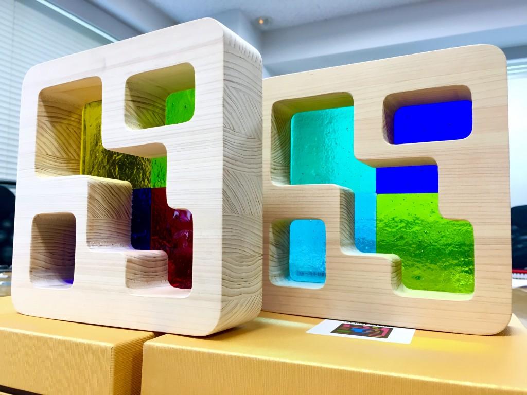 琉球ガラス 木製ブロック